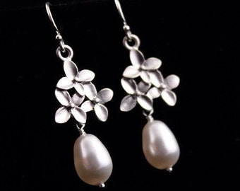 Bridal Jewelry Cherry Blossom Flower and Pearl Silver Wedding Earrings Lizzie