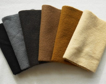 Brown - Black - Grey - Beige Hand Dyed and Felted 100% Wool Fabric Number 5102