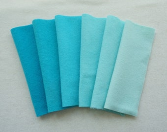 Turquoise - Aqua - Hand Dyed Felted Wool Fabrics Perfect for Rug Hooking and Applique 5064B