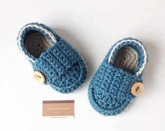 Baby booties crochet loafers blue and ivory  ready to ship with giftbox