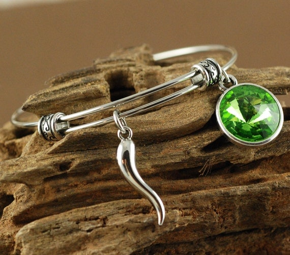 Italian Horn Bangle Bracelet, Silver Bangle Bracelet, Italian Horn Jewelry, Birthstone Bangle