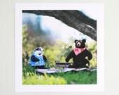Animal art print, Felted Rudyard Bear summer picnic nursery art print for boy or girl--green, teal, red, black