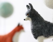 Woodland Creatures Mobile, Baby Mobile, Wolf, Rabbit, Red Fox, Stag, muted colors
