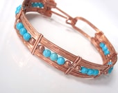 Turquoise and Copper Bracelet, Spring Clasp,, Bangle, Unisex 7 and Three Quarters