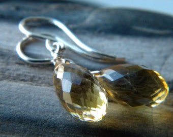 Holiday jewelry - Golden citrine earrings - sterling silver handmade wire wrapped jewelry - November birthstone Holiday accessories
