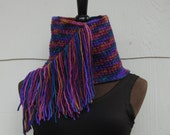 Handmade Crochet Multi Colored Fringed Cowl Neckwarmer