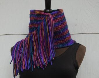Handmade Crochet Multi Colored Fringed Cowl Neckwarmer