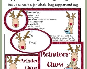Reindeer Chow Gift Set - Jar Labels, Bag Topper, Tag and Recipe - Digital Printable Kit - Great Gift Idea - Immediate Download