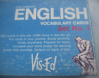 Vintage box of english word cards, Vis-Ed boxed cards, full box language cards, vocabulary cards, mixed media supply, vocabulary study aid