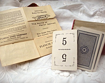 Antique Flinch game, boxed card game, vintage number cards, wedding place cards, altered art supply, vintage card game, vintage Flinch game