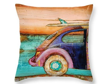 Vw Perfect Day at the beach throw ART PILLOW, home decor pillow, housewares, distressed, mixed media, collage