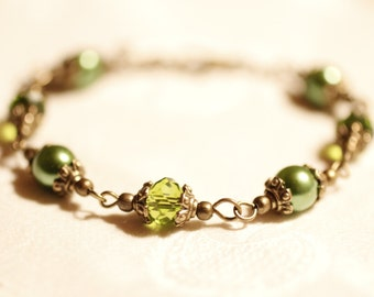 summer fun, bronze bracelet, Swarovski, olive green, summer, style, beach, Boho, autumn, fall