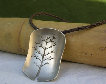 Tree of Life - Upcycled dessert spoon Pendant