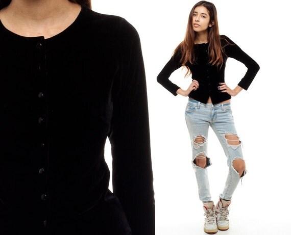 Black velvet shirt blouse 90s grunge button up top collarless for Red velvet button up shirt
