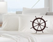 One (1) Ships Wheel White Nautical Pillowcase pillow cover bedding color brown, black, red, purple, or navy blue