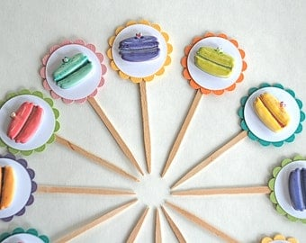 Shimmery and Colorful Macaroons - Cupcake Toppers
