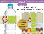 DIY editable printable water bottle labels (No.24) tiger boy or girl baby shower favors or wedding bridal PDF Digital File