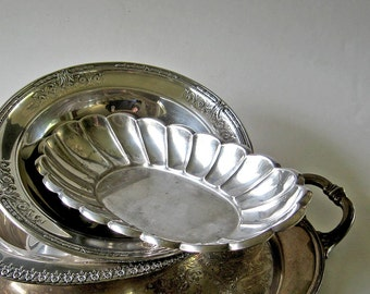 Oval Scalloped Tray Vintage Bowl Serving Dish Pedestal Display
