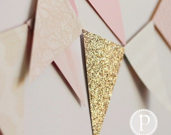 Premade: Soft Pink with Gold Glitter Pennant Banner (7 yards)