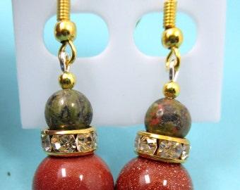 charming handmade goldstone beads,unakite beads and spacer earrings gemstone earrings