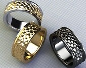 Ladies Dragon Scale Ring, WOW Ring, Oxidized Silver Ladies Band Dragon Jewelry Scale Band Two Tone Silver and Gold Jewelry