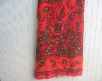 Vintage Paisley Wool Fabric 2 yards 1970s Green Purple Red Soptra