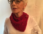 Christmas Red Chunky Boucle Scarf, Red Scarf, Red Badana Style Scarf, Chile Red Scarf, Gift for Her Woman/Teen 2019