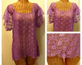 Purple Lace Tunic Top Coachella Hippie Boho Gypsy Womens Mothers Day Spring