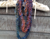 Evening Sky Blue Finger Knit Infinity Scarf, knitting, knit, infinity scarf, child, adult, scarf
