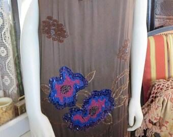1920s Antique Flapper Dress Brown Silk Cobalt Beading Embroidery Fur Hem AS IS 38 Bust