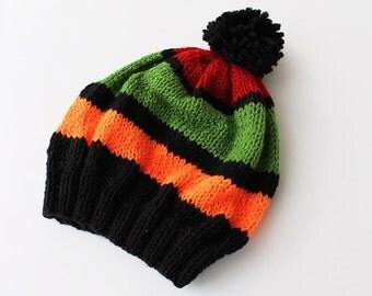 Womens Pom Pom Hat, Slouchy Beanie- Pom Pom Beanie- Knitted Hat- Womens Beanie- Striped Baggy Beanie Slouchy Hat