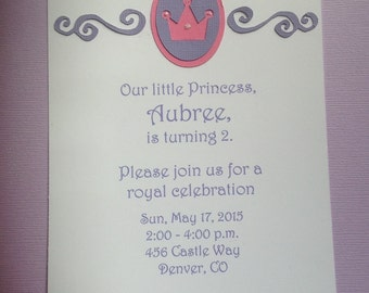 Handmade Princess Birthday or Baby Shower Invitations - Set of 8