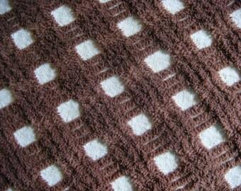 Dark Brown  Plush Lattice Vintage Chenille Bedspread Fabric 18 x 24 Inches