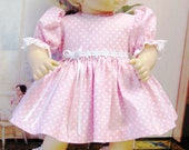 Pastel Pink Dots and Daisies Dress and Panties for Bitty Baby
