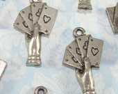 6 Poker Charms Four Aces Hand of Cards Pewter Silver USA Made Gambling Las Vegas Reno Atlantic City Bulk Wine Marker Jewelry Supplies 31409