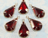 12 Red Teardrop Crystal Rhinestones Ruby Resin Set Stones Faceted Drops 13mm x 8mm SILVER Tone Pronged Setting Jewelry Supply Bulk Charms
