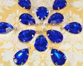 8 LARGE Teardrop Sapphire Blue Rhinestone Crystal Resin Set Stones Faceted 18mm x 13mm SILVER Pronged Setting Jewelry Supplies Charms