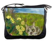 Tabby Cat and Yellow Flowers - Messenger Bag