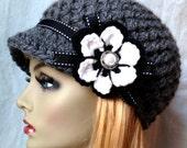 Crochet Womens Hat, Newsboy, Charcoal, Very Soft, Chunky, Flower, Ribbon, Warm, Teens, Winter, Ski Hat, JE407N12