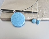 Hand Made  Light Blue Fused Glass Jewelry Set Necklace, Earrings
