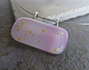 Light Purple - Hand Crafted -  Fused Glass Pendant Necklace