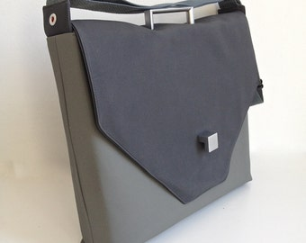 SALE Laptop/Briefcase in two grays with handle and square clasp