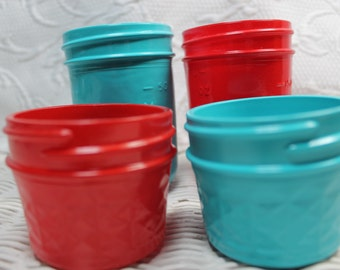 Free USA Shipping/4 Decorative Mason Jar/Mason Jars/Aqua and Red Mason Jar/Red and Aqua Mason Jar/Wedding Mason Jar/Birthday Mason Jar/