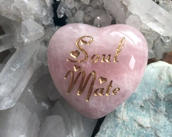 New! Soul Mate Intention Heart ~ Engraved Rose Quartz crystal ~ The stone of Love