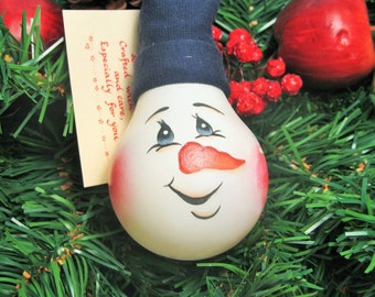 Hand Painted Light Bulb Snowman Ornament by Treasures To Share