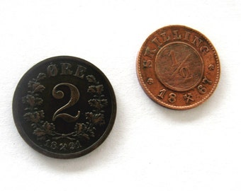 Vintage Coins Norway Norwegian 1867 One Half Skilling 1891 2 Ore Set of Two