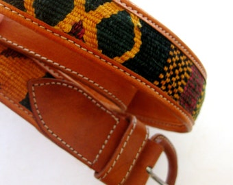 Vintage Belt Southwestern Woven Leather Guatemalan Cloth Gold  Green Black Orange