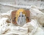 assemblage leather cuff bracelet catholic religious saint chic
