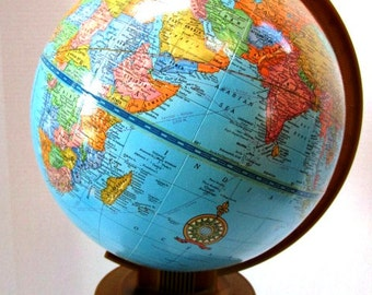 Vintage World Globe, Cram's Imperial Model, Made in USA, School Geography, Travel Office Decor, Repurpose Upcycle Supply