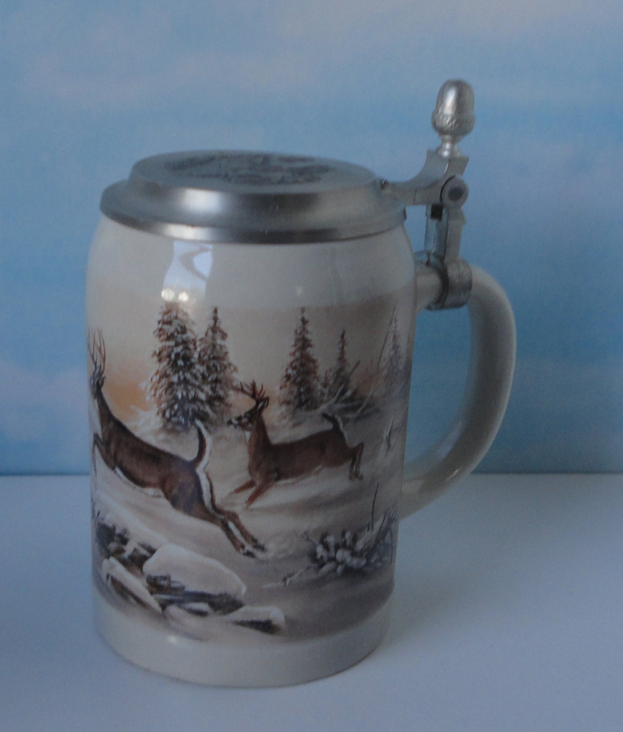 Domex German Stein Ceramic And Pewter Deer Scene Stein